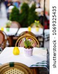 outdoor cafe on sunny spring... | Shutterstock . vector #1069325435