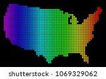 spectrum dotted usa map. raster ... | Shutterstock . vector #1069329062