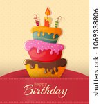 birthday cake vector card with... | Shutterstock .eps vector #1069338806