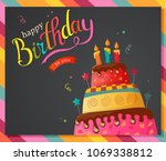Birthday Cake Vector Card With...