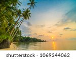 beautiful paradise island with... | Shutterstock . vector #1069344062