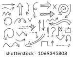 vector doodle arrow set 1.... | Shutterstock .eps vector #1069345808