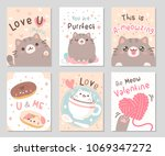 Stock vector cute chubby cat full of love and purr meow in soft pastel color set of rectangle gift tag card 1069347272