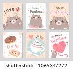 cute chubby cat full of love... | Shutterstock .eps vector #1069347272