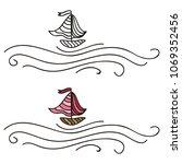 sea and ship. vector... | Shutterstock .eps vector #1069352456