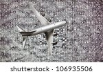 boeing flying over downtown district - stock photo