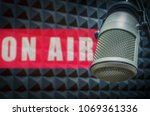 professional microphone on air | Shutterstock . vector #1069361336