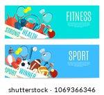 banner of sport balls and... | Shutterstock .eps vector #1069366346