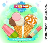 ice cream poster. brightly... | Shutterstock .eps vector #1069366352