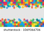 colorful background puzzle.... | Shutterstock .eps vector #1069366706