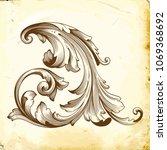 retro baroque decorations... | Shutterstock .eps vector #1069368692