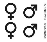 male and female symbol set.... | Shutterstock .eps vector #1069382072