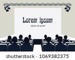 people in the cinema on the...   Shutterstock .eps vector #1069382375