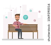 man working outside his office... | Shutterstock .eps vector #1069390016