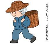 vector of man and wicker basket | Shutterstock .eps vector #1069400186