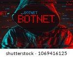 botnet concept with faceless...   Shutterstock . vector #1069416125