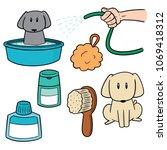 vector set of dog shower | Shutterstock .eps vector #1069418312