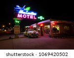 the historic blue swallow motel ... | Shutterstock . vector #1069420502