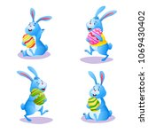happy blue bunny collection... | Shutterstock . vector #1069430402