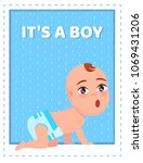 its a boy poster with toddler...   Shutterstock .eps vector #1069431206
