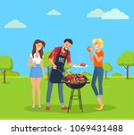 steak and barbecue party  with... | Shutterstock .eps vector #1069431488