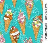 ice cream. seamless vector... | Shutterstock .eps vector #1069431596