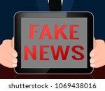 fake news digital tablet...   Shutterstock . vector #1069438016