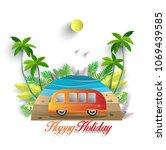 vector illustration in summer.... | Shutterstock .eps vector #1069439585