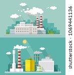 set vector blue factory...   Shutterstock .eps vector #1069441136
