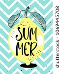 summer poster. lemon vector... | Shutterstock .eps vector #1069445708