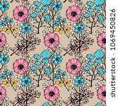 seamless  pattern with flowers  ... | Shutterstock .eps vector #1069450826