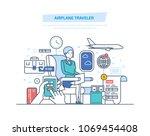 airplane traveler. tourism  air ...   Shutterstock .eps vector #1069454408