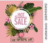 sale summer banner  poster with ...   Shutterstock .eps vector #1069454492