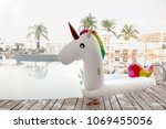 colorful inflatable toy unicorn ... | Shutterstock . vector #1069455056