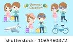 cartoon couple with summer... | Shutterstock .eps vector #1069460372