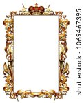ornate golden frame topped with ... | Shutterstock .eps vector #1069467395