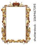 ornate golden frame topped with ... | Shutterstock .eps vector #1069467395