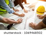 team engineer drawing graphic... | Shutterstock . vector #1069468502