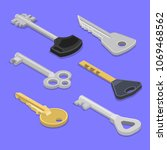 a set of keys for locks and... | Shutterstock .eps vector #1069468562