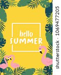 hello summer banner with... | Shutterstock .eps vector #1069477205