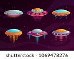 cartoon colorful ufo assets set.... | Shutterstock .eps vector #1069478276