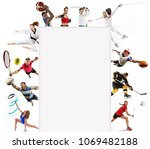 attack. sport collage about... | Shutterstock . vector #1069482188