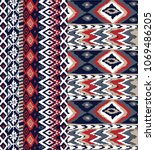ikat pattern on navy | Shutterstock .eps vector #1069486205