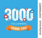 3000 followers  social sites... | Shutterstock .eps vector #1069486805