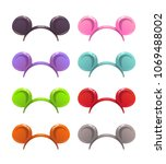 funny cartoon headbands with... | Shutterstock .eps vector #1069488002
