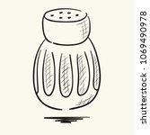salt shaker. hand drawn vector... | Shutterstock .eps vector #1069490978