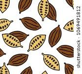 cocoa bean seamless doodle... | Shutterstock .eps vector #1069491812