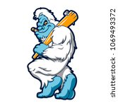 Stock photo baseball sasquatch cartoon 1069493372