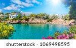 cala dor beach at cala d'or... | Shutterstock . vector #1069498595