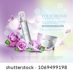 Stock vector vector cosmetics jars on bokeh background and roses element for modern design advertising for 1069499198